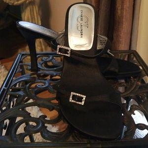 Black satin double strap dress sandles